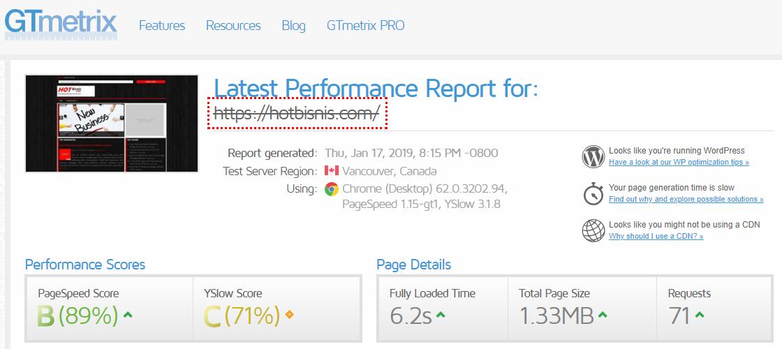 Cek Kecepatan Website via Gtmetrix