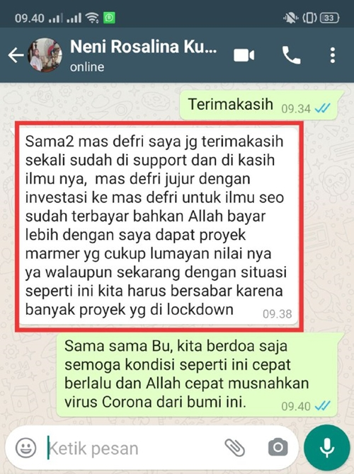 Testimoni Private SEO